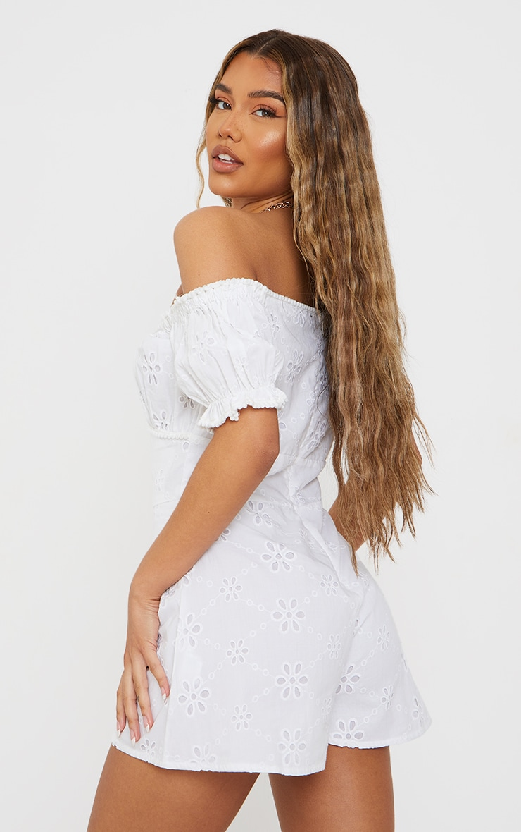 White Broderie Anglaise Bardot Ruched Bust Romper 2