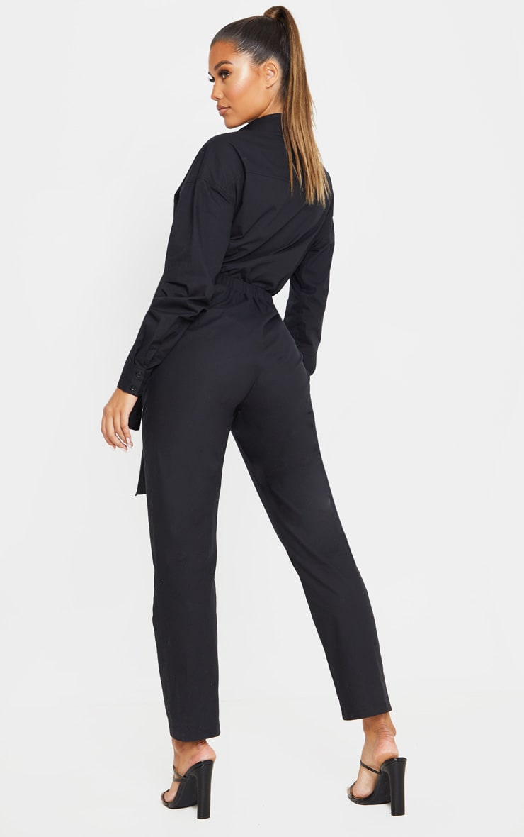 Black Tie Waist Shirt Jumpsuit 2