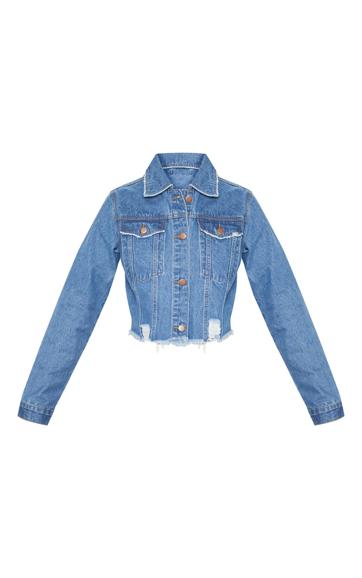 Tall Mid Wash Cropped Denim Jacket 3