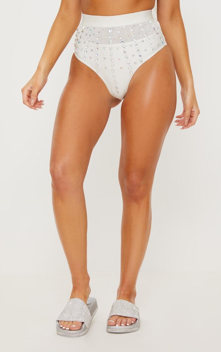 Premium - Bas de maillot blanc style bandage à pierres irisées 3