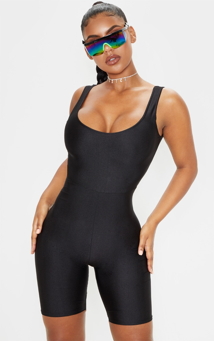 Black Scoop Neck Unitard 1