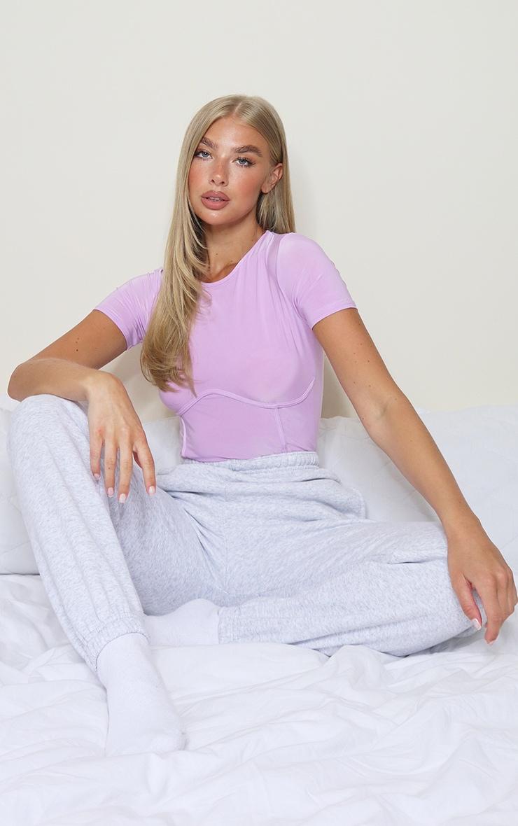Lilac Jersey Underbust Short Sleeve Bodysuit 3