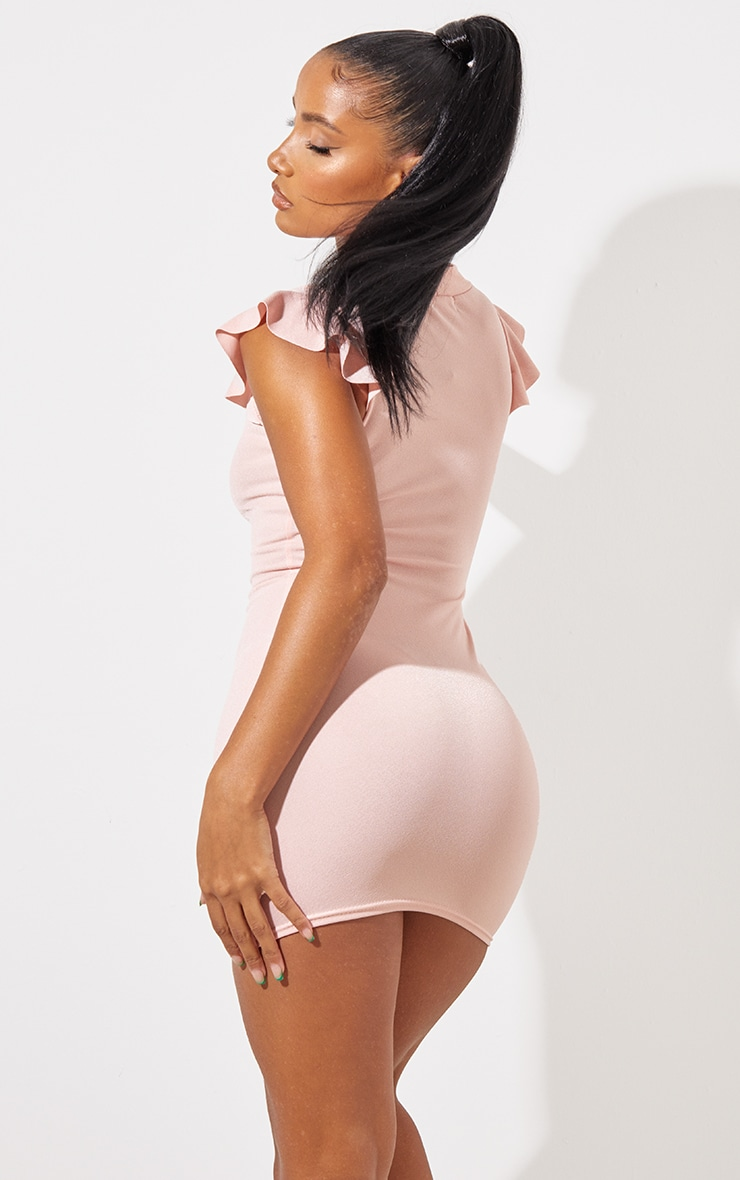 Rose High Neck Cap Sleeve Bodycon Dress 3