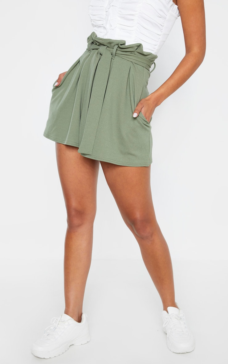 Khaki Pleated Waistband Tie Waist Short 2