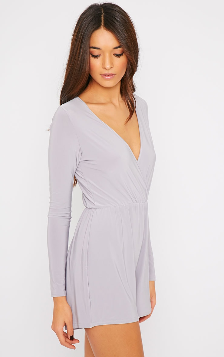 Tilly Grey Slinky Wrap Over Playsuit  3