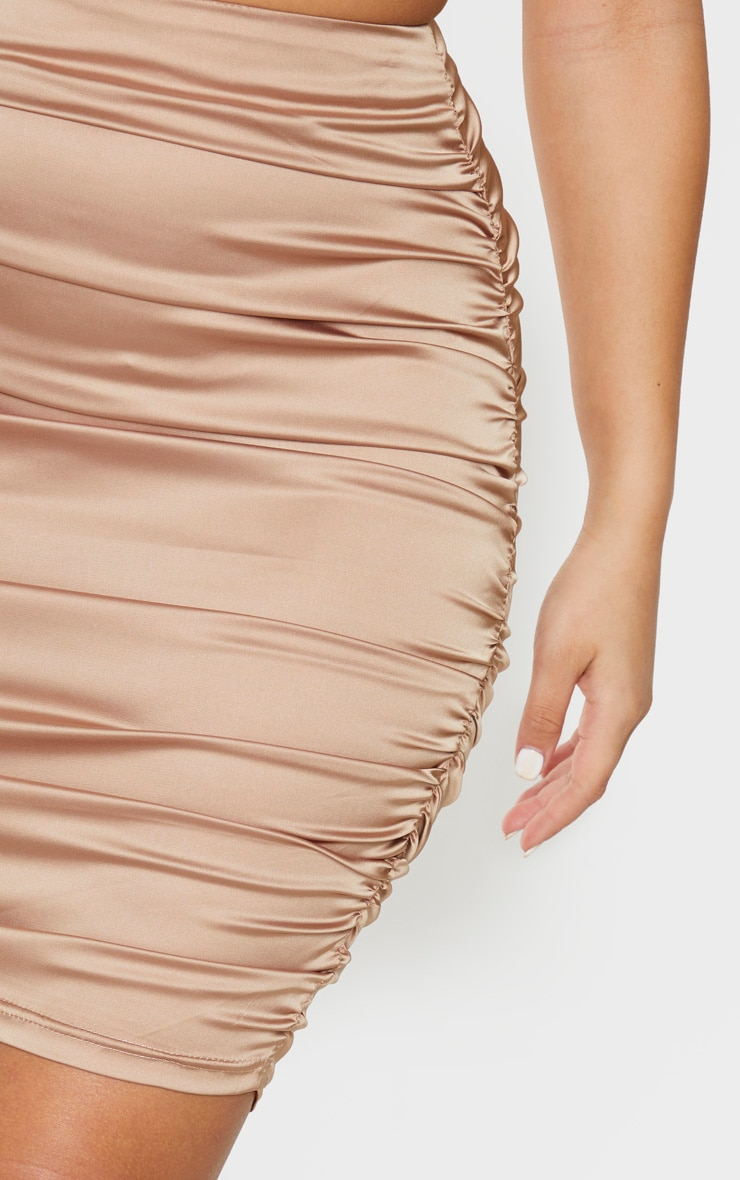 Gold Woven Double Ruched Side Midi Skirt 5