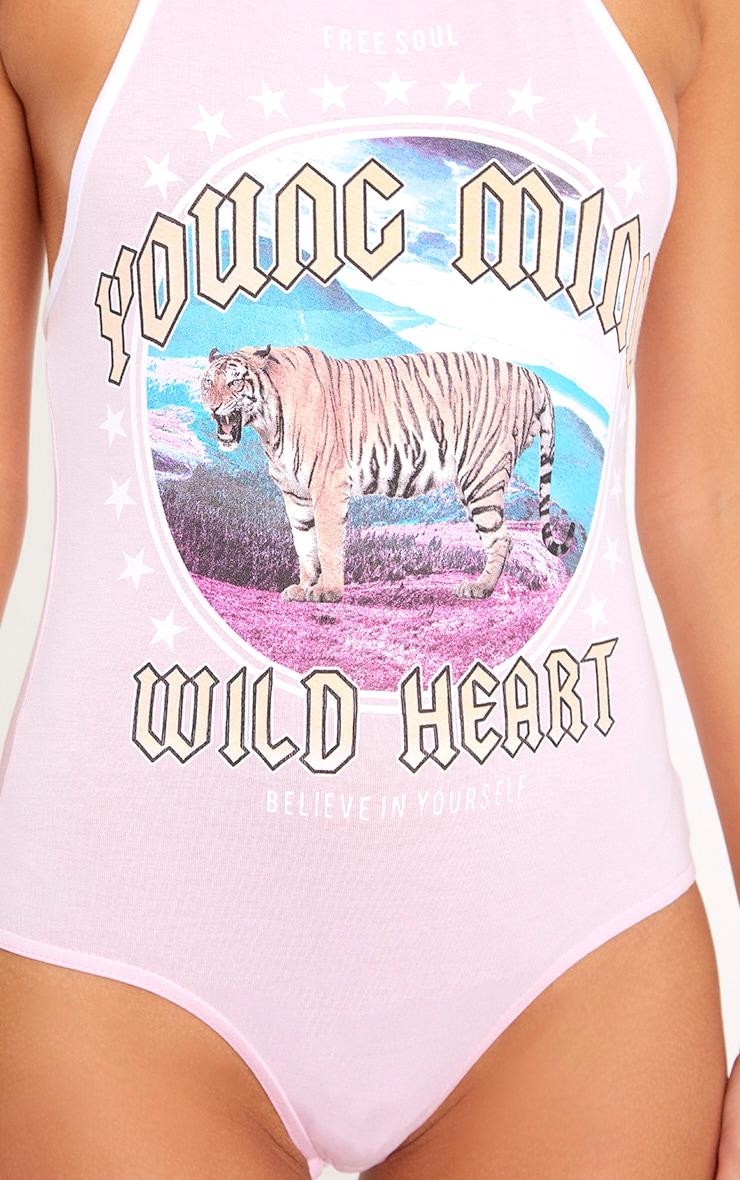 Baby Pink Young Mind Slogan Halterneck Thong Bodysuit 6