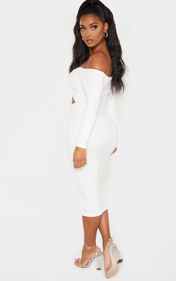Shape White Cut Out Ruched Front Midi Dress 2