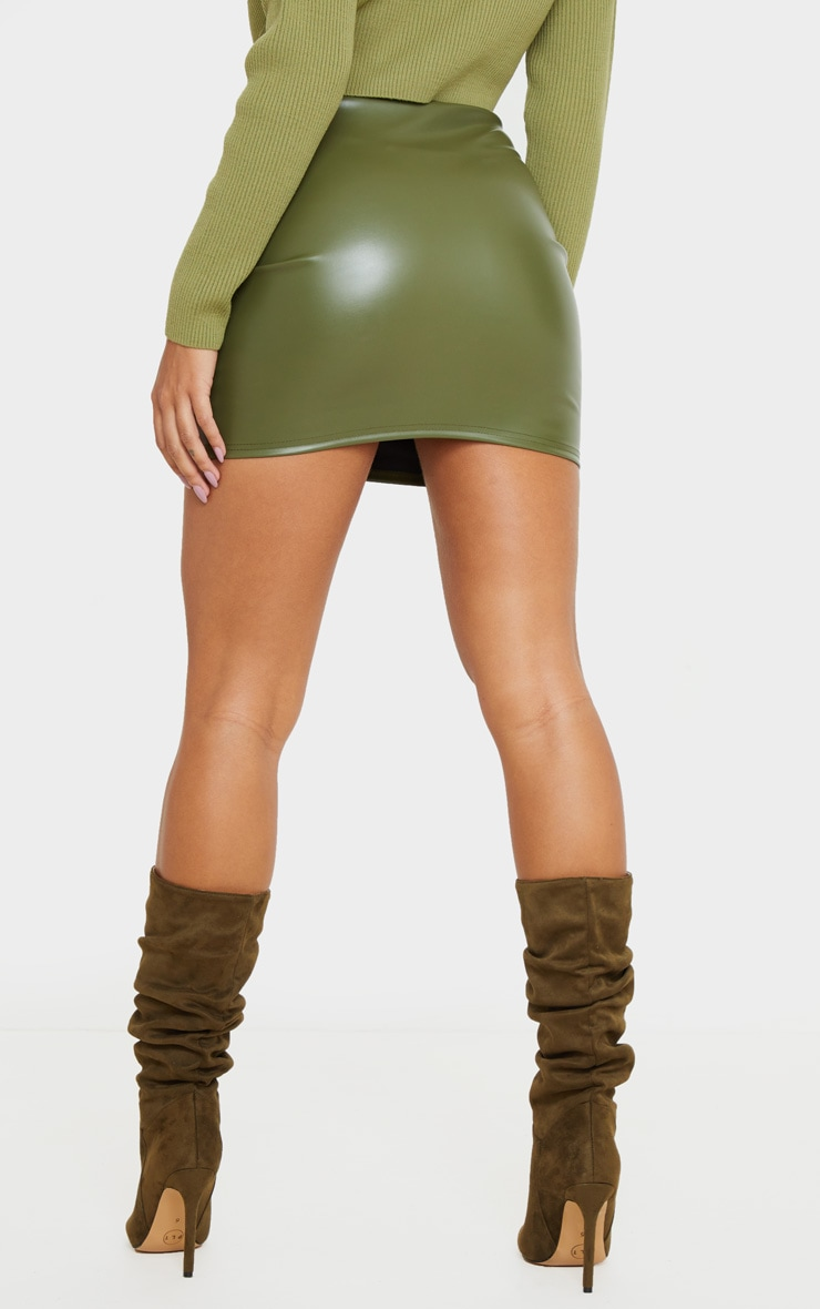 Khaki Basic Faux Leather Mini Skirt 4