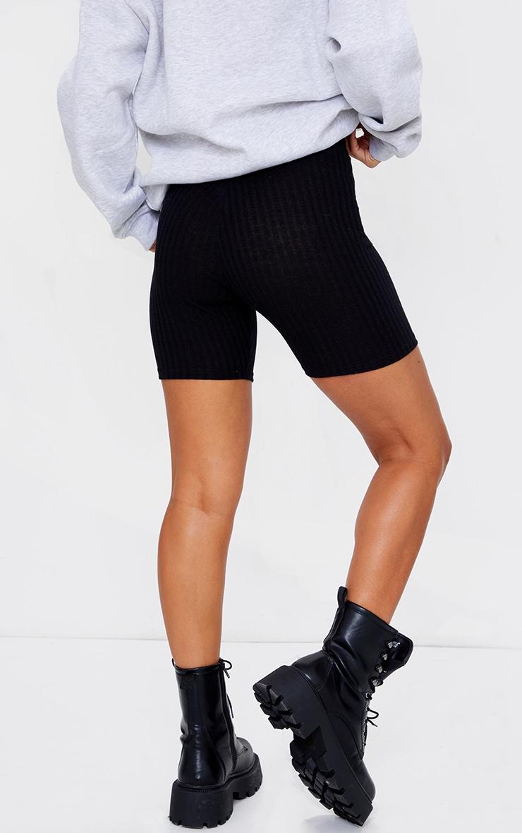 Black Ribbed Biker Shorts 3