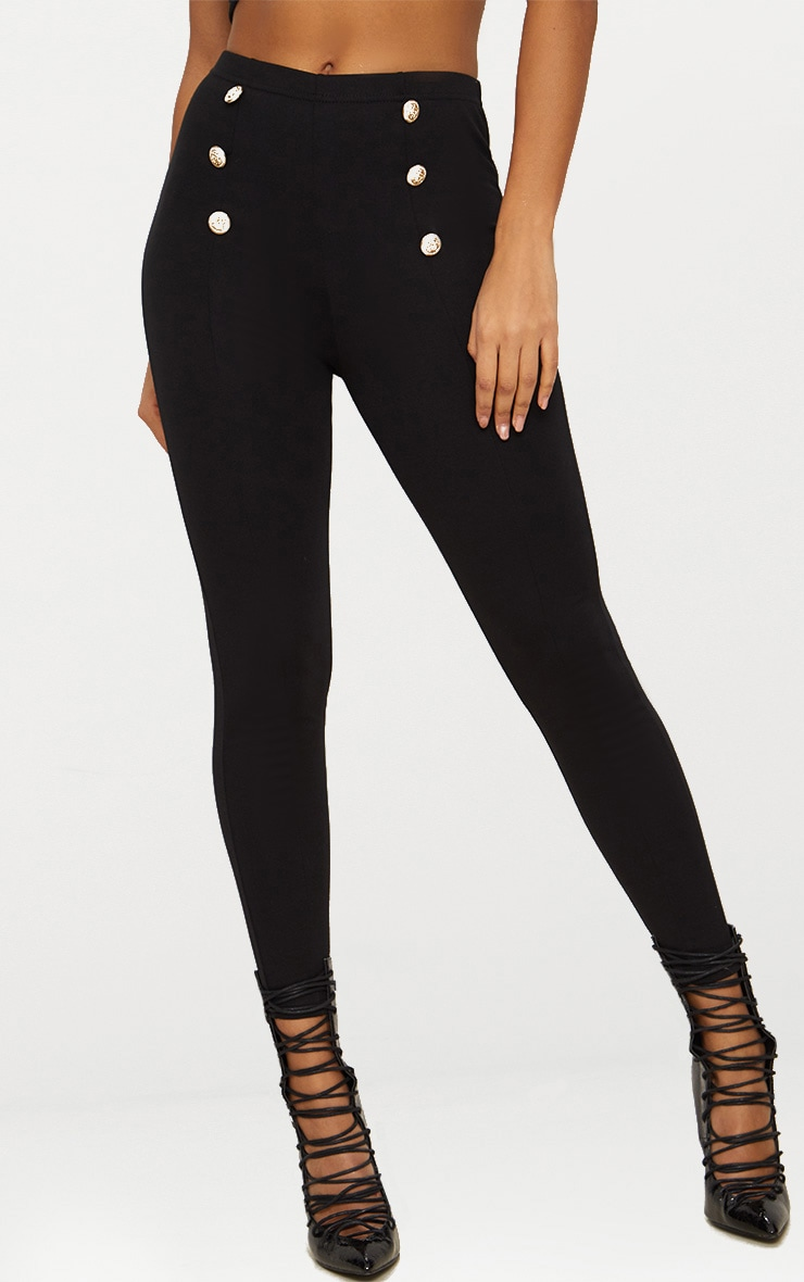 Black Button Detail High Waisted Skinny Trouser 2