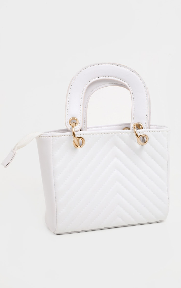 White Chevron Quilted Grab Bag 4