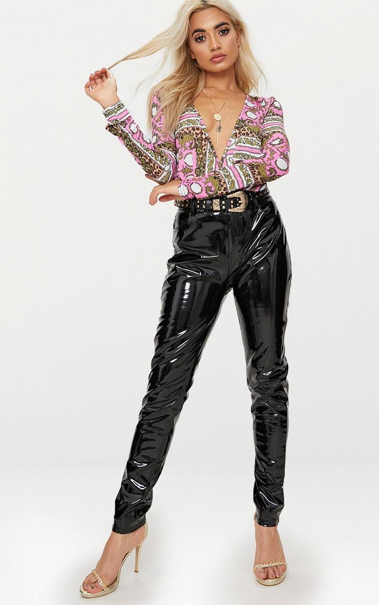 Pink Scarf Printed Long Sleeve Thong Bodysuit  5