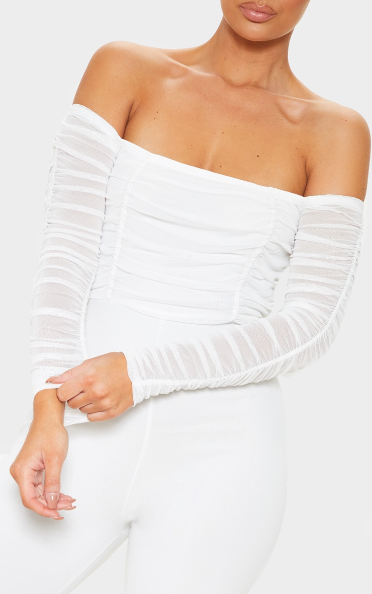 White Mesh Bardot Long Sleeve Jumpsuit 5