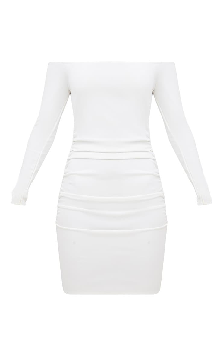 White Long Sleeve Ruched Bardot Bodycon Dress 3