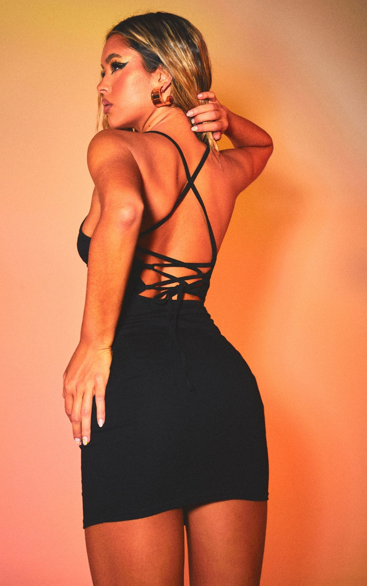 Black Strappy Pointy Hem Lace Up Back Bodycon Dress 1