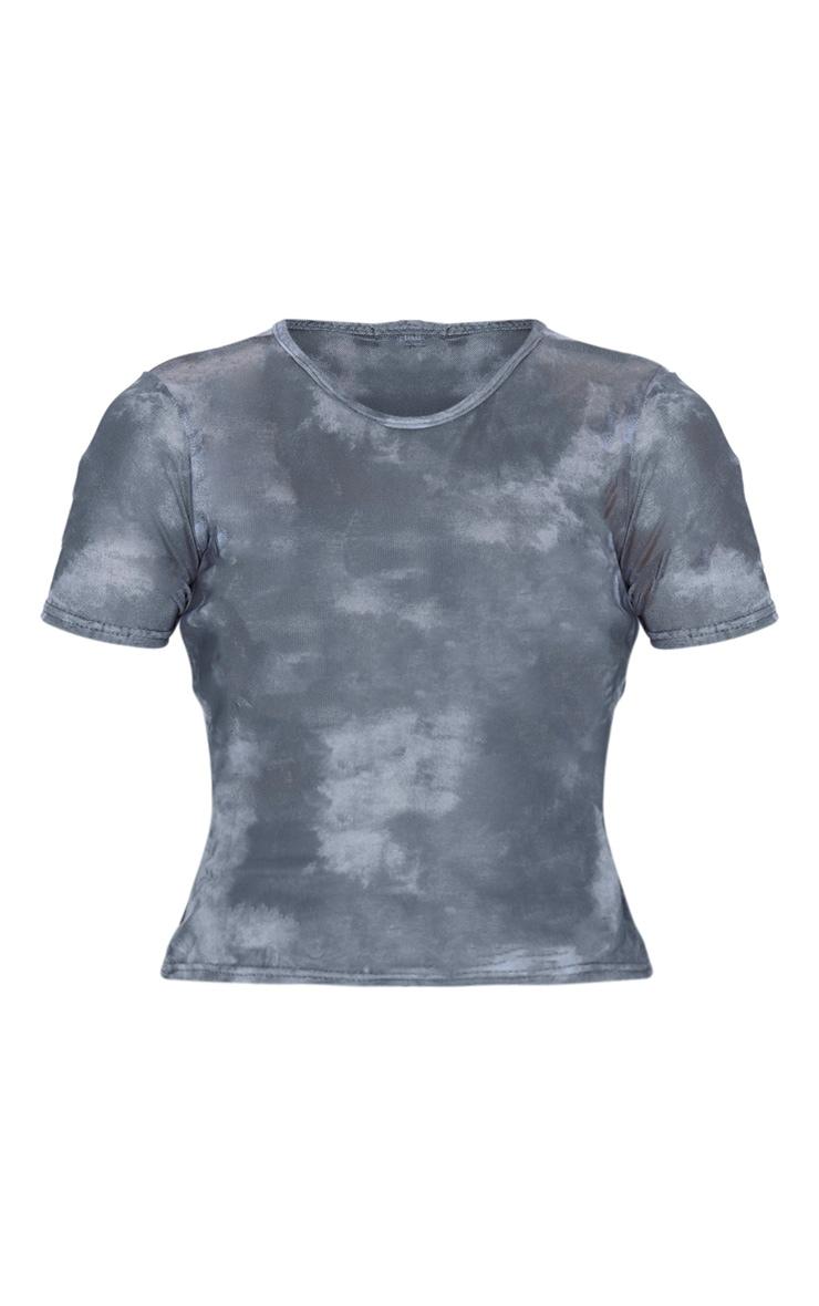 Blue Tie Dye Printed Short Sleeve T Shirt 3