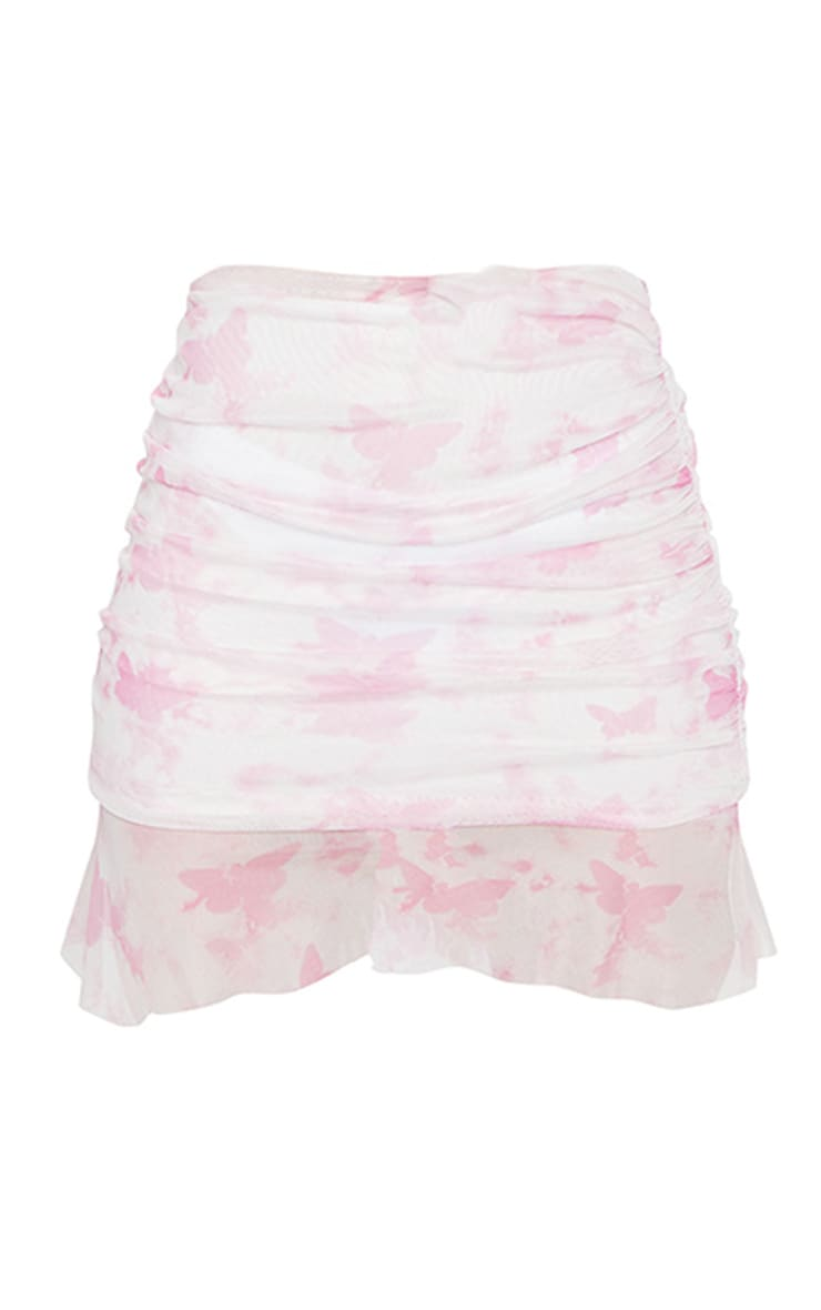 Baby Pink Butterfly Print Ruffle Hem Mini Skirt 3