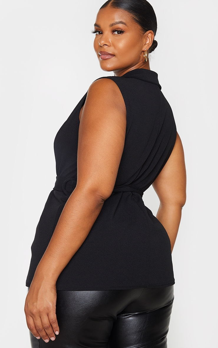 Plus Black Sleeveless Belted Blazer 2