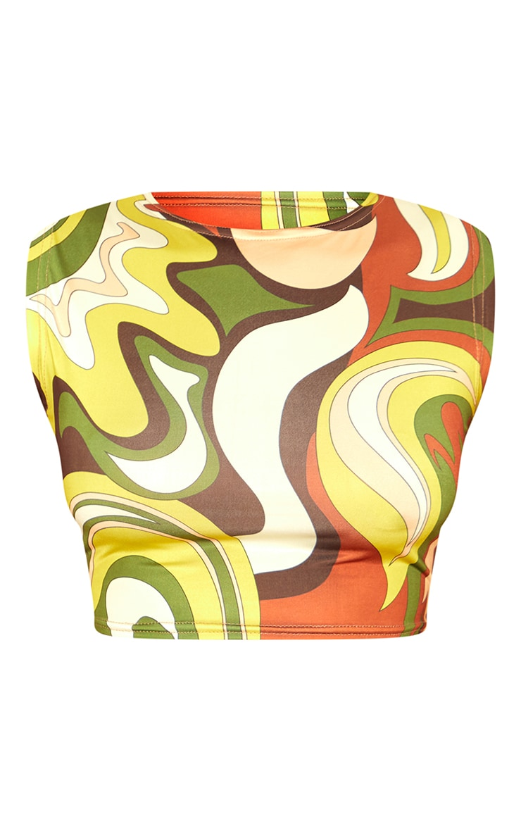 Olive Abstract Print Slinky Crop Top 5
