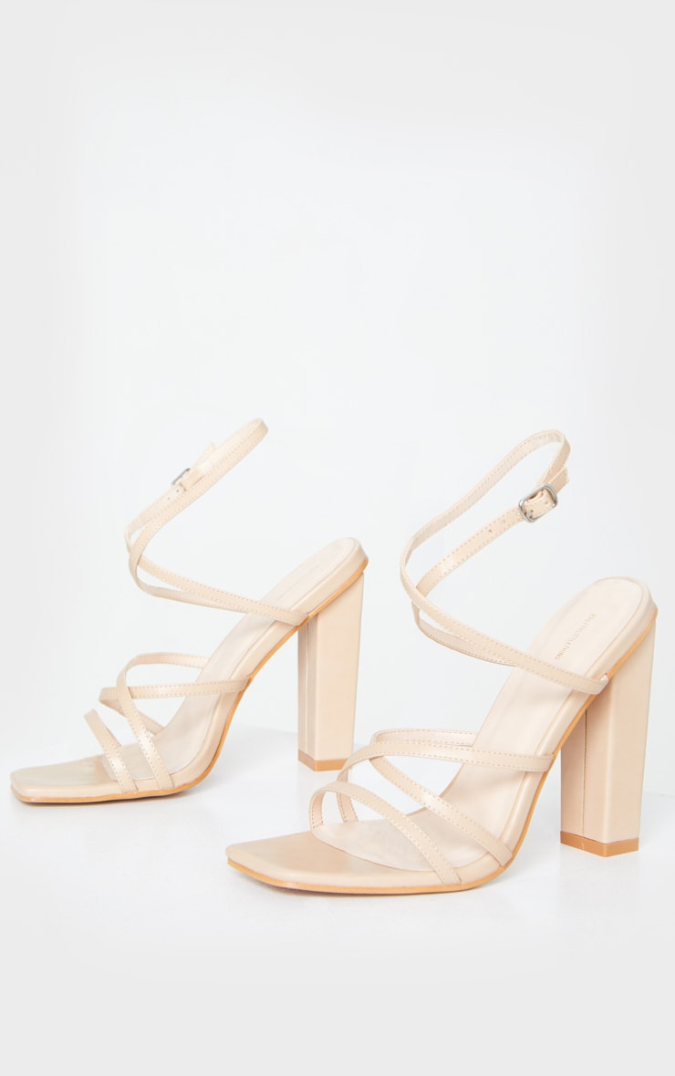 Nude Chunky Heel Strappy Square Toe Heeled Sandals 3