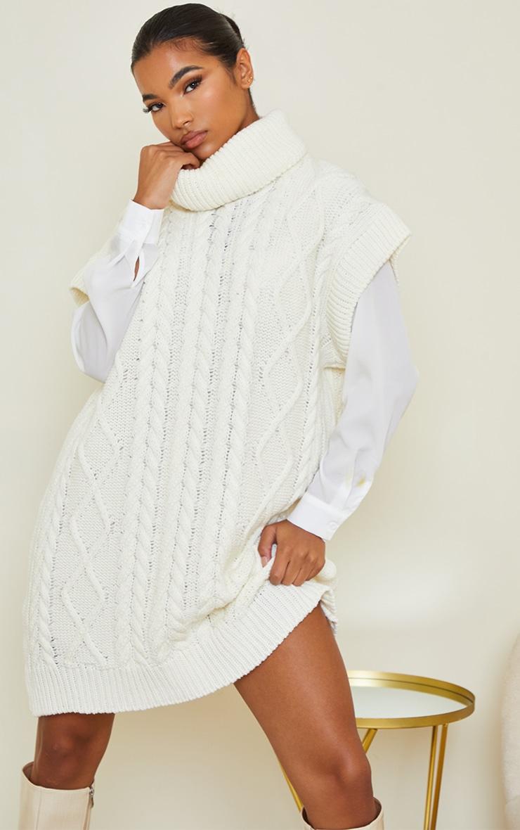 Cream Chunky Cable Sleeveless Roll Neck Dress 1