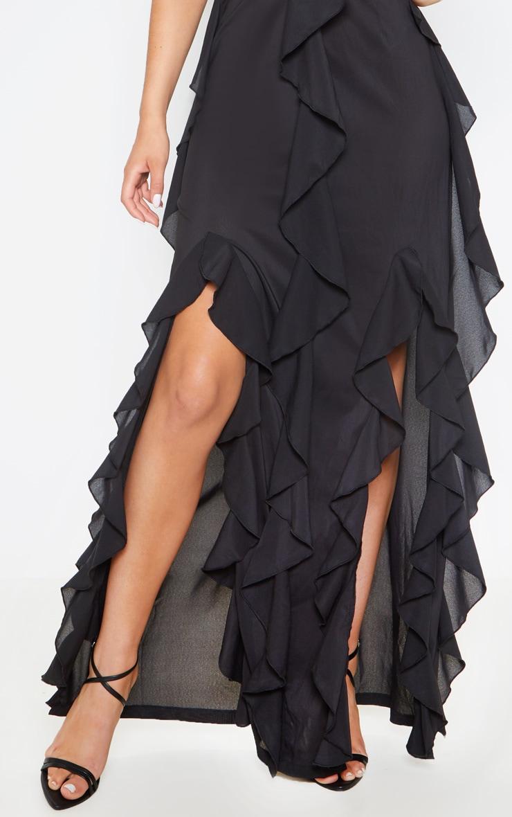 Black Cold Shoulder Ruffle Detail Maxi Dress 5