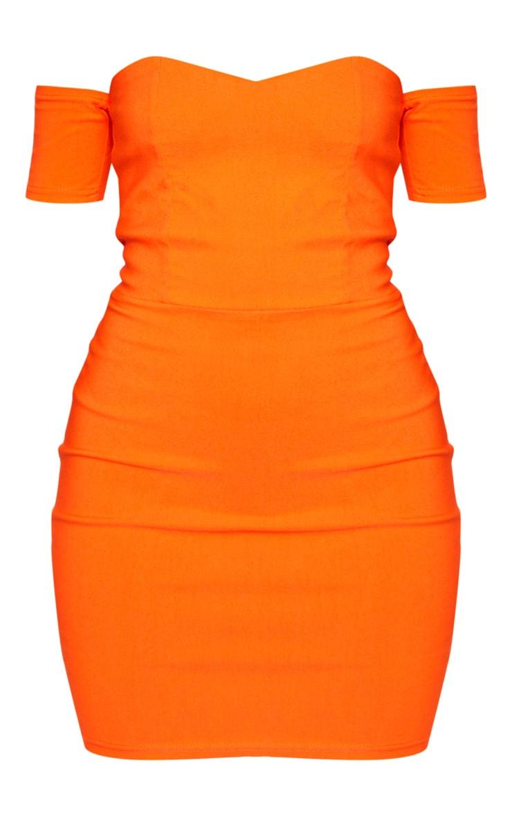 Orange Bardot Bodycon Dress 3