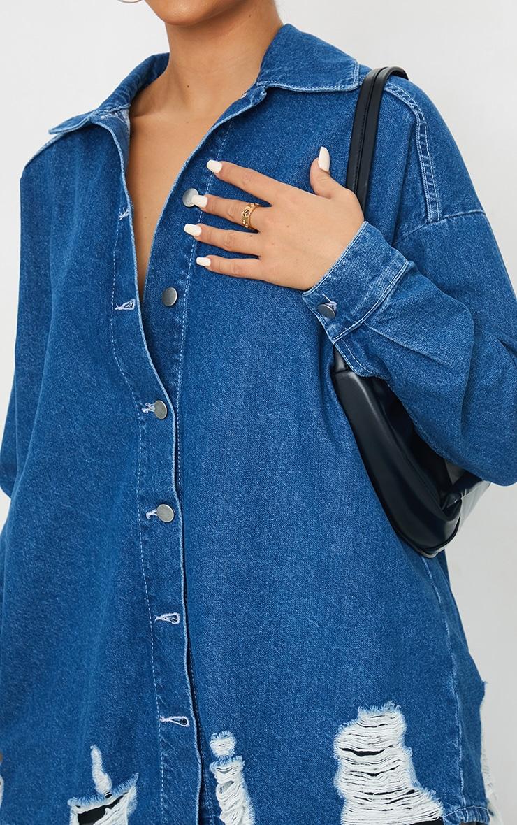 Mid Blue Wash Oversized Drop Shoulder Distressed Denim Shirt 4