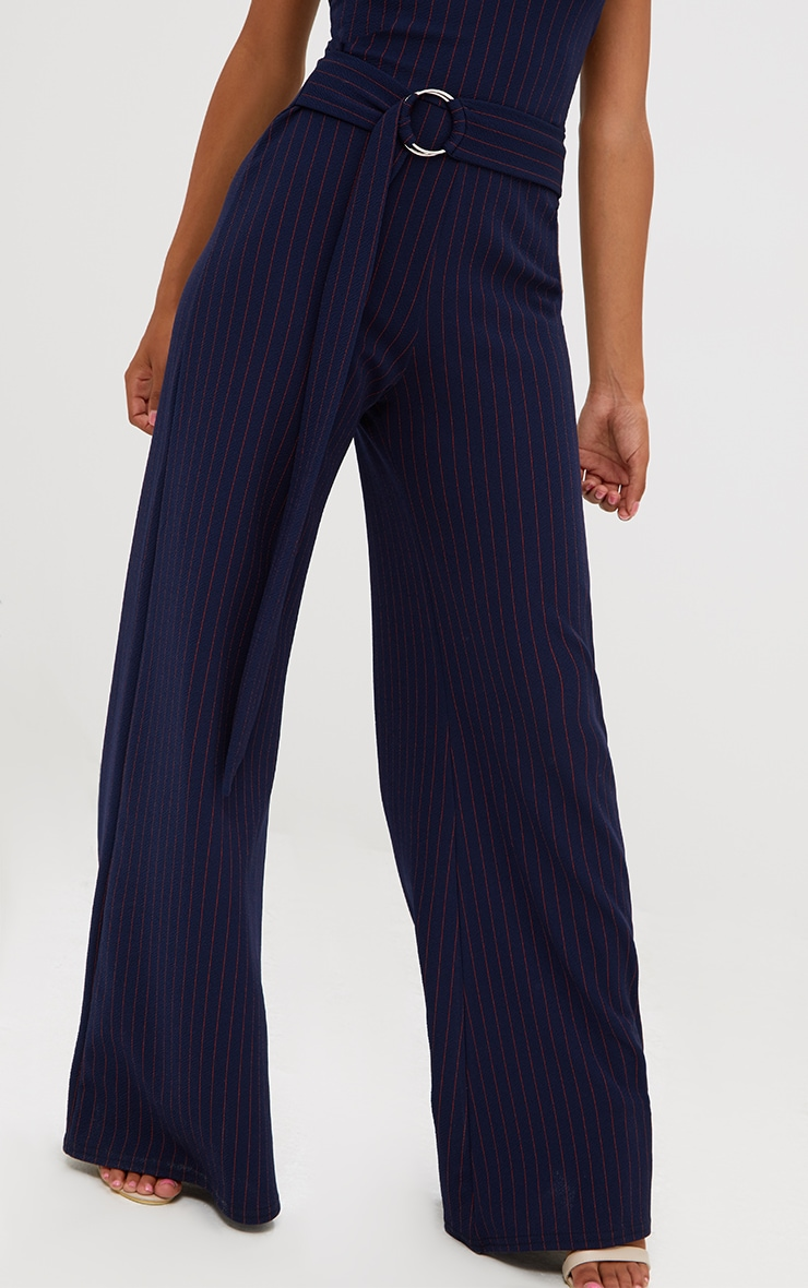 Petite Navy Blue Pinstripe O-Ring Belt Jumpsuit 5