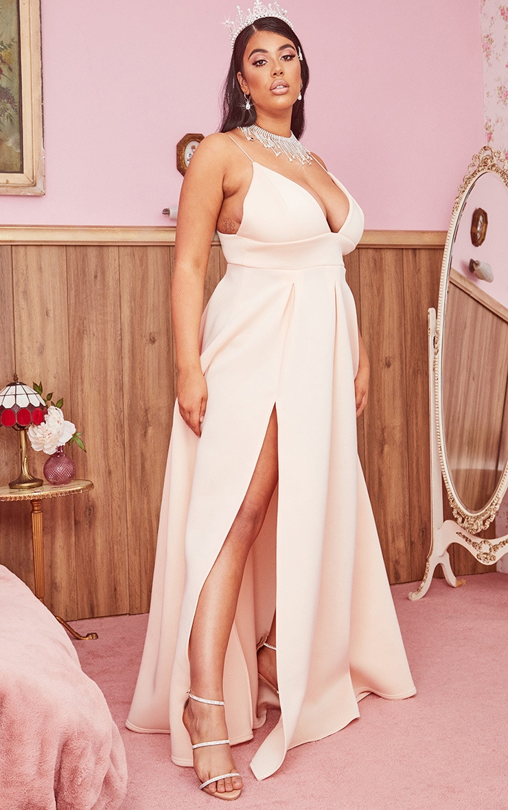 Plus Nude Scuba Strappy Plunge Maxi Dress 3