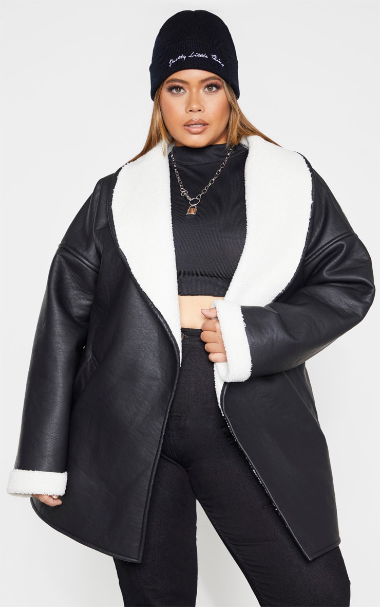 Plus Black PU Tie Waist Long Sleeve Jacket 1