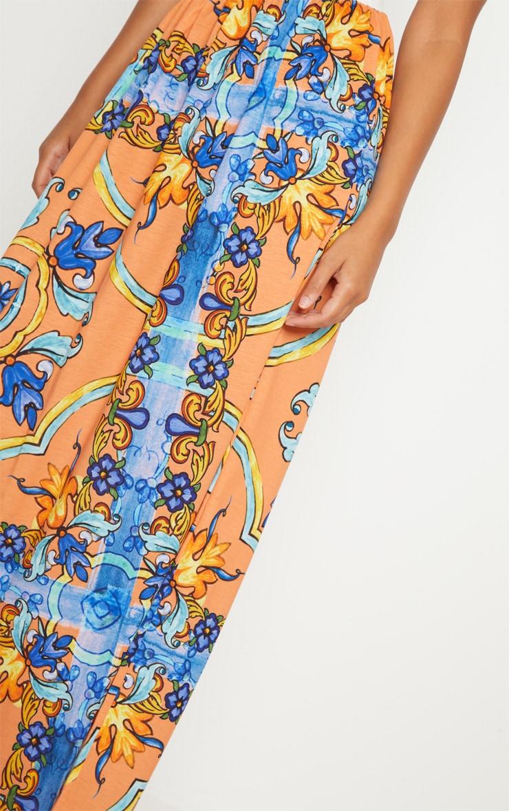 Orange Jersey Printed Maxi Skirt  5
