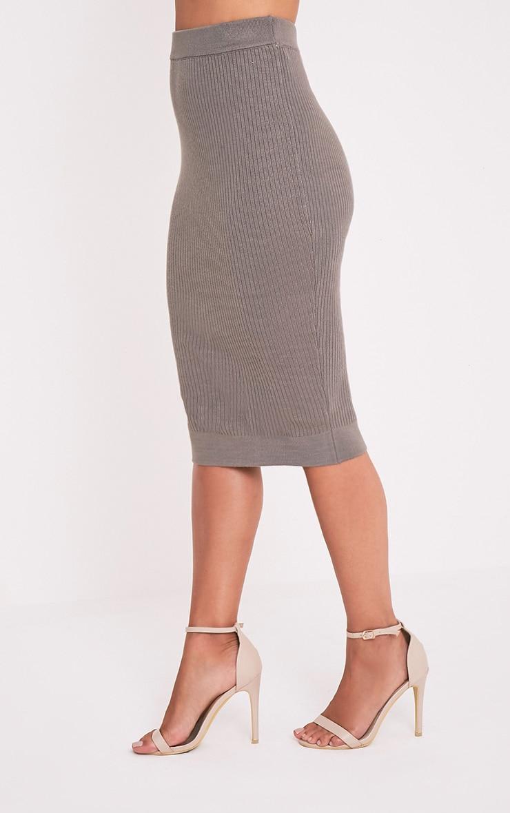 Taegan Olive Ribbed Knitted Midi Skirt 4
