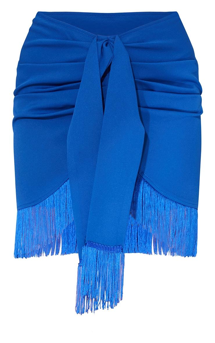 Cobalt Woven Tassel Tie Waist Wrap Skirt 6