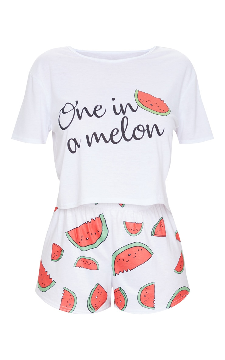 White One In A Melon Print Shorts PJ Set 5