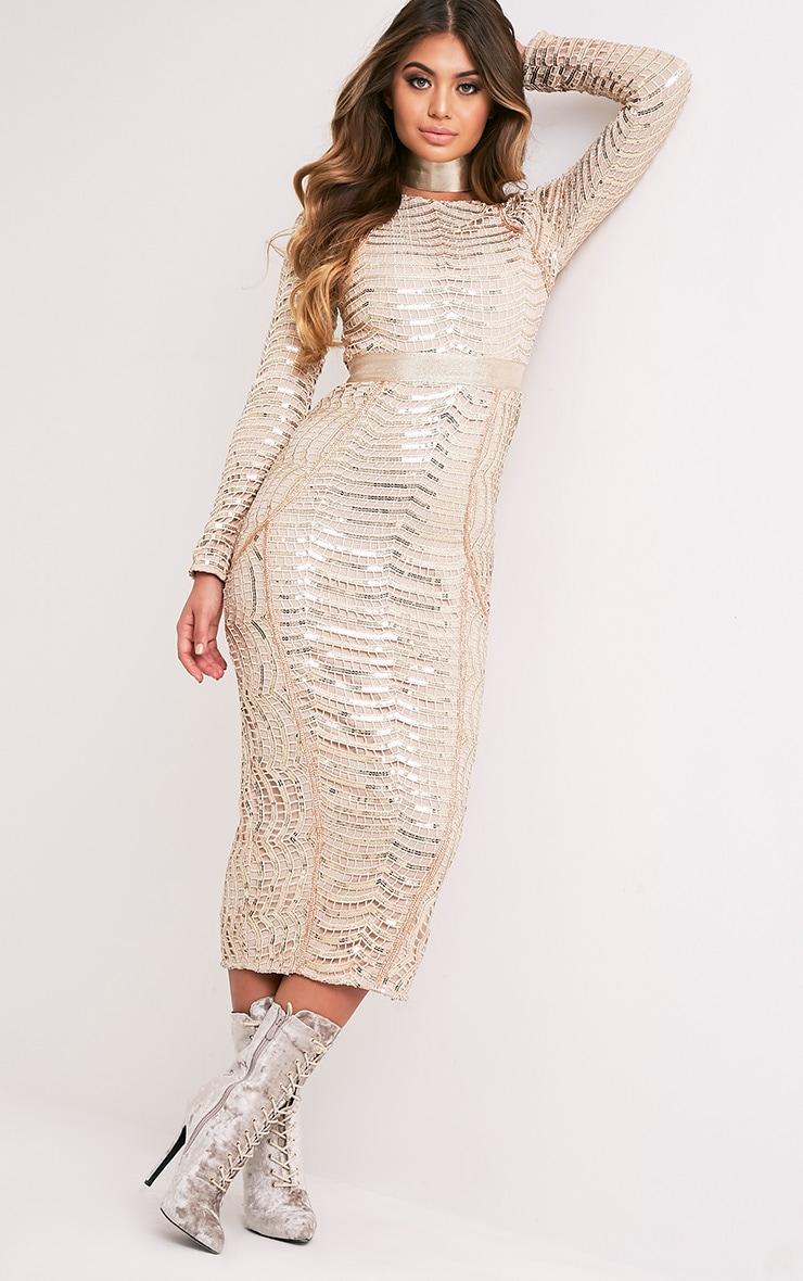 Kendika Gold Premium Sequin Midaxi Dress 6