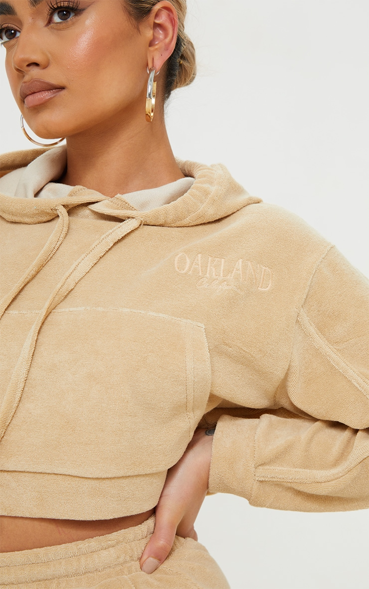 Petite Stone Velour Oakland Cropped Hoodie 4