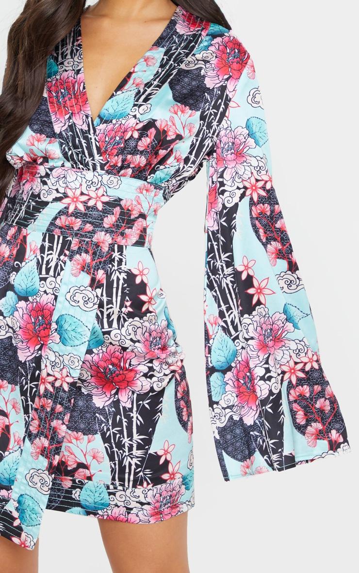 Pink Floral Oriental Print Satin Kimono Sleeve Wrap Detail Shift Dress 4