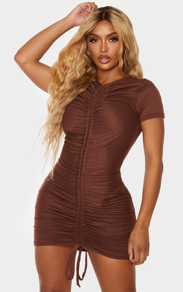 Shape Chocolate Brown Rib Ruched Front Short Sleeve Bodycon Dress 1