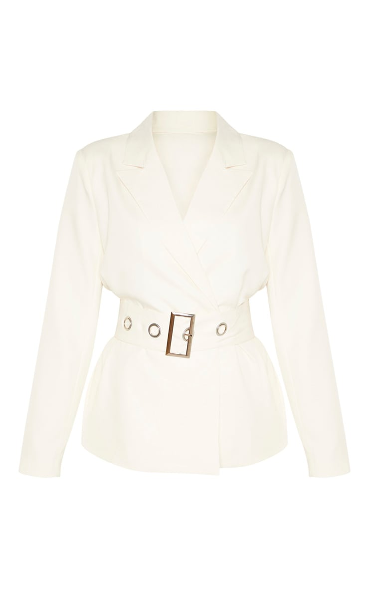 Cream Buckle Detail Belted Woven Blazer    3