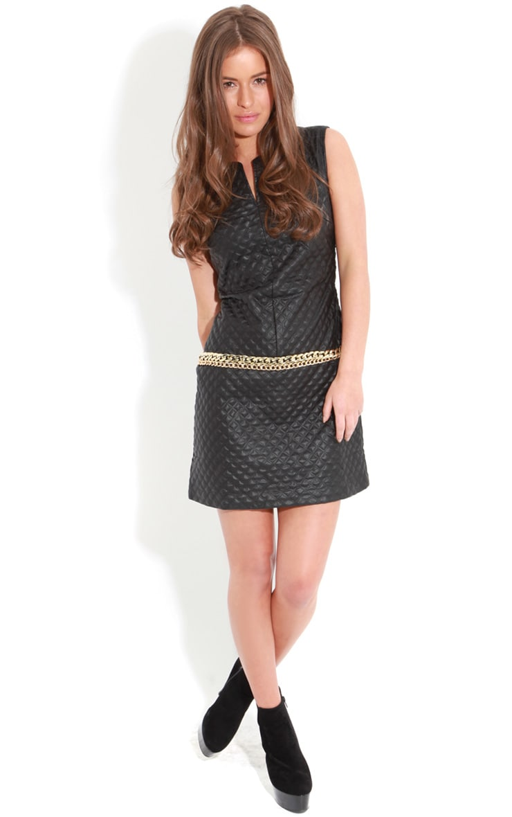 Rae Black Quilted PU Dress With Gold Chain Detail 3