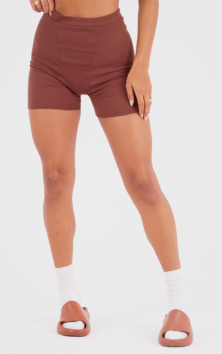 Chocolate Brown Ribbed Cycle Shorts 2