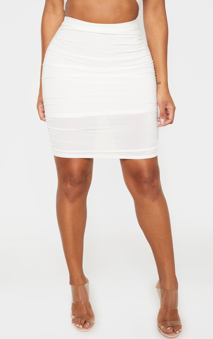 Shape Cream Ruched Bodycon Skirt 2
