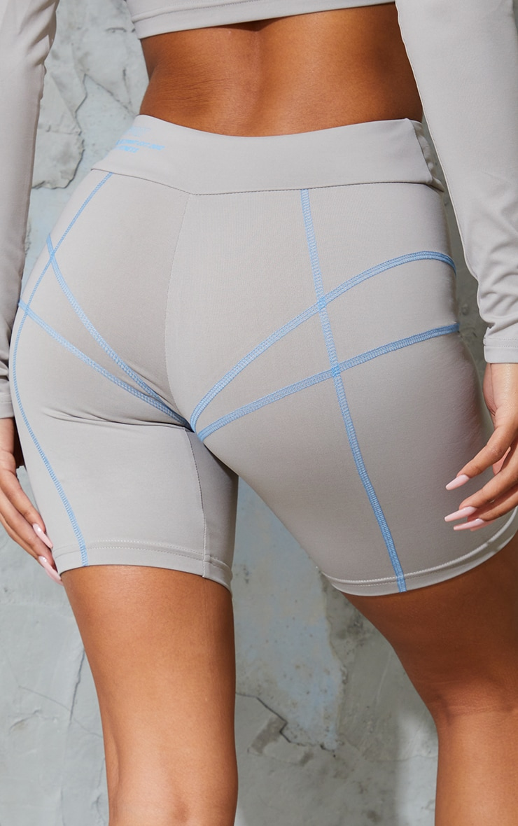 Ash Grey Stitch Detail Bike Shorts 5
