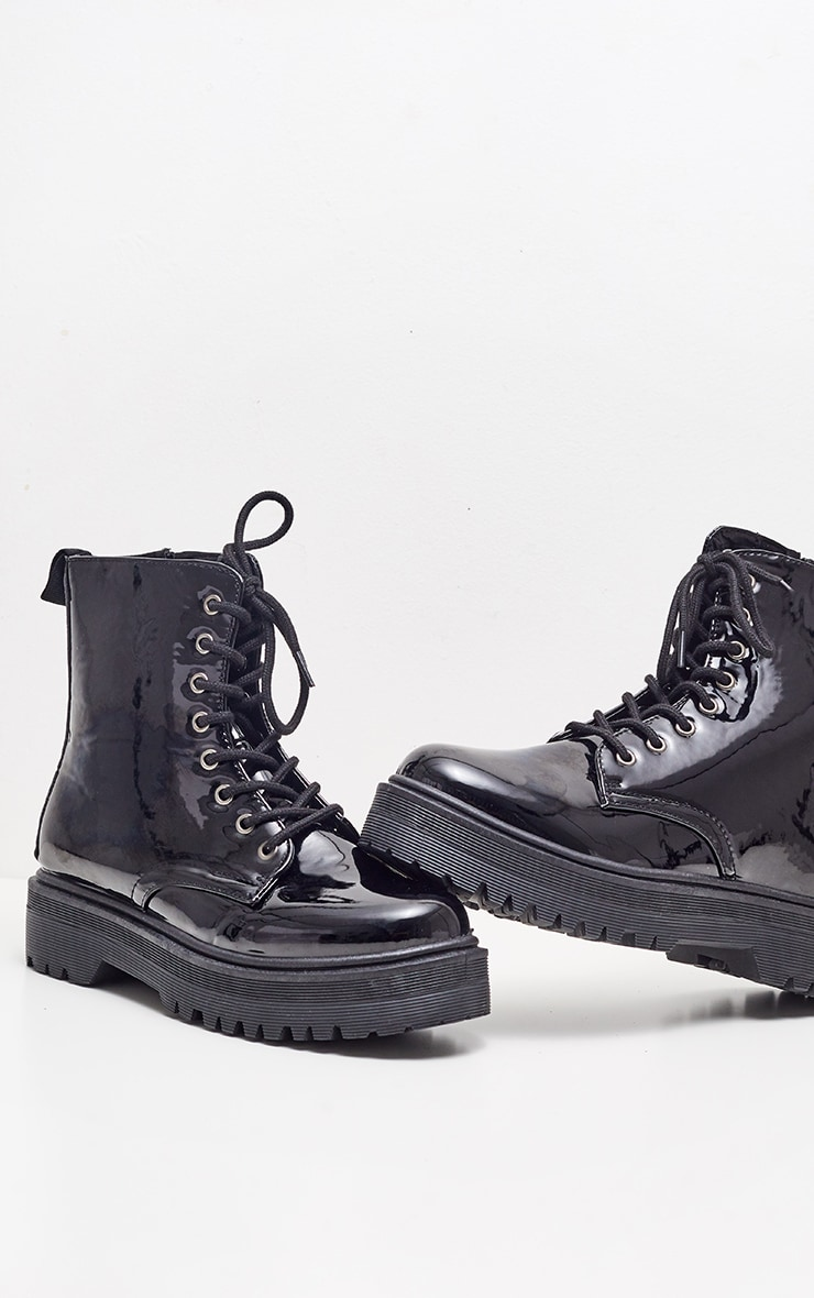 Black Patent Chunky Cleated Boot 3