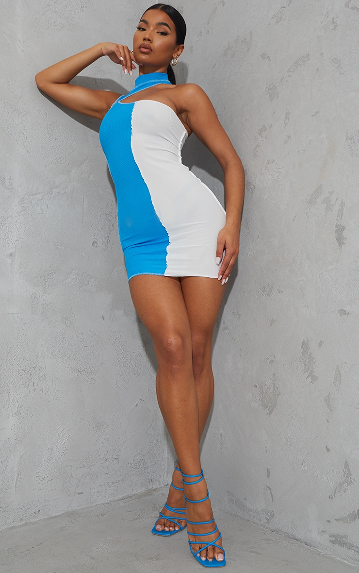 Bright Blue Rib High Neck One Shoulder Contrast Panelling Bodycon Dress 3