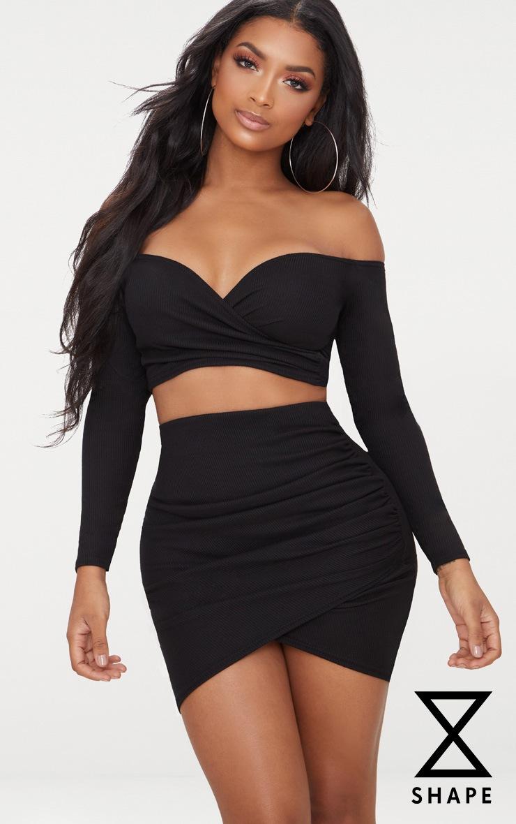 Shape Black Ribbed Bodycon Skirt 1