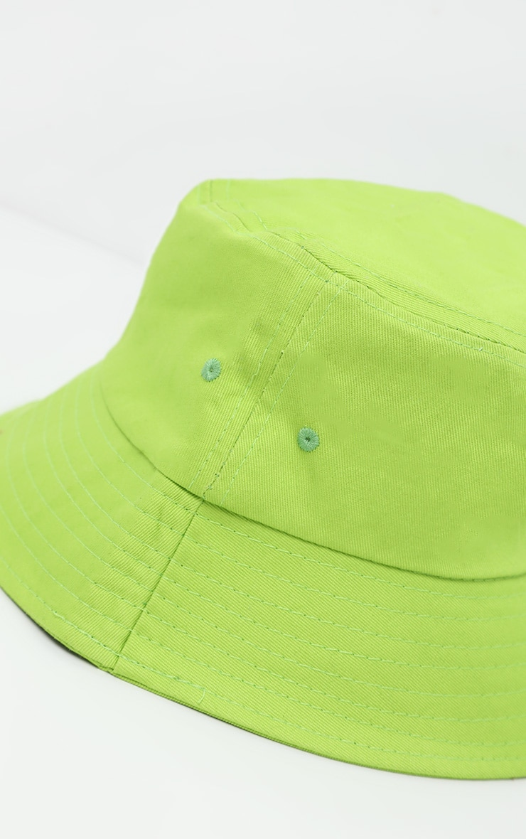 Neon Lime Plain Bucket Hat 4