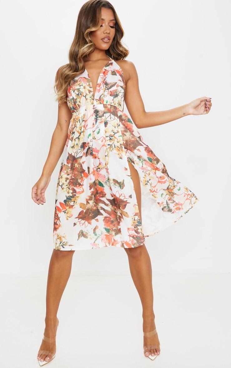 Multi Floral Print Strappy Back Halterneck Midi Dress